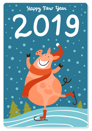 Happy piggy during skating in santa hat on snow background with new year greetings flat vector illustration 일러스트
