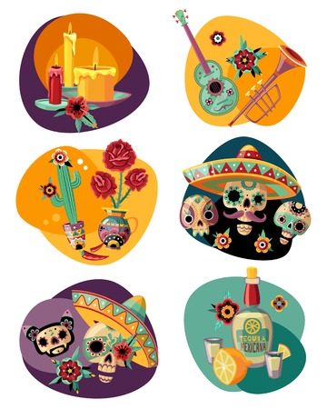 Dead day celebration 6 colorful compositions set with ornamented sugar sculls masks candles tequila Illustration