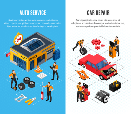 Car service vertical banners set with repair symbols isometric isolated vector illustration Banque d'images - 109683386