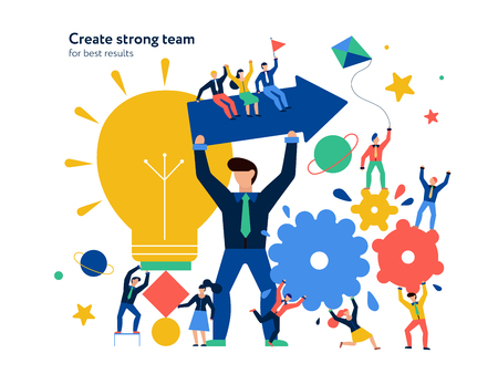 Teamwork page design with new ideas and dreams symbols flat vector illustration Illustration