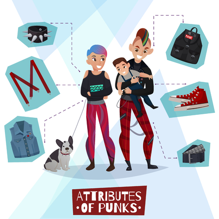 Family couple of punks with child on hands, dog, clothing elements and attributes cartoon vector illustration