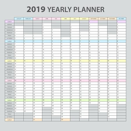 Realistische druckbare Vorlage des Jahresplaners 2019 für die Verwaltung von Büroterminen Aufgabenübersicht Kalender graue Hintergrundillustration Vektorgrafik
