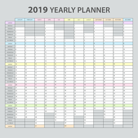 Yearly planner 2019 realistic printable template for office appointments tasks management overview calendar grey background  illustration 矢量图像
