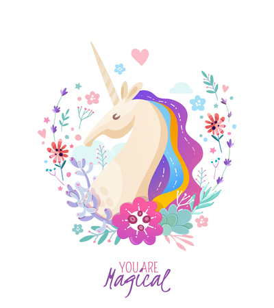 Magical poster with unicorn portrait painted in rainbow colors framed by branches and flowers cartoon  illustration