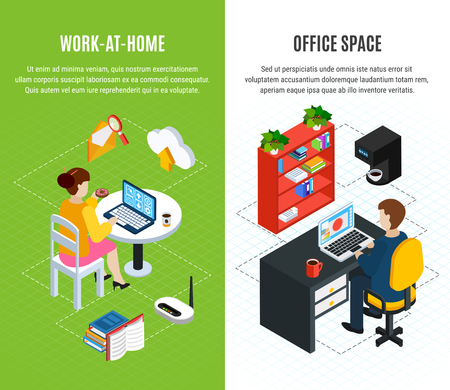 Business people set of two isometric vertical banners with editable text and compositions of office images vector illustration Çizim