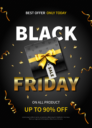 Best offer black friday poster with gift box on dark background realistic vector illustration Stock Illustratie