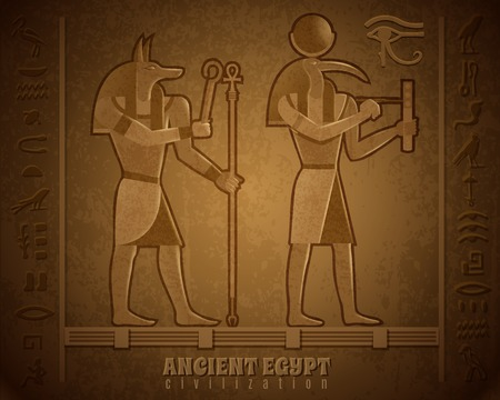 Ancient egyptian civilization cartoon vector illustration with images of famous mystical deities with animal heads