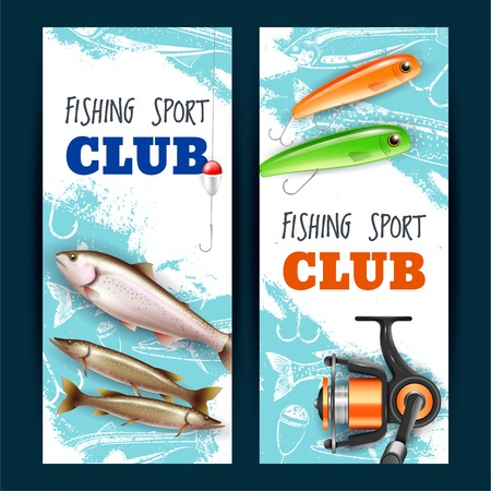 Set of vertical banners realistic fishing tackles trout and pike isolated on blue white background  illustration