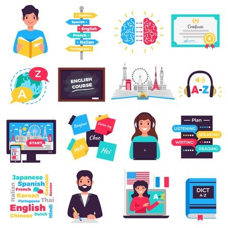 Programmes d'apprentissage des langues étrangères tuteurs cours en ligne centres de formation applications pour smartphones icônes plates définies illustration isolée