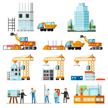 Sky scraper construction set of flat icons with stages of building process isolated  illustration Illustration