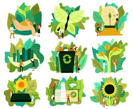 Ensemble de restauration écologique d'icônes plates économisant l'énergie verte de la forêt illustration isolée de la ville écologique