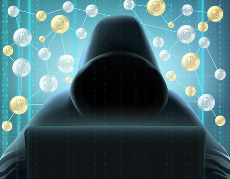 Cryptocurrency blockchain realistic miner in black hood behind computer against digital screen and bitcoins net background vector illustration Stock Illustratie