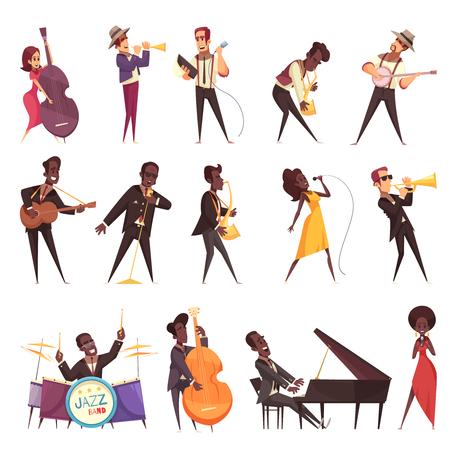Jazzmusiksatz von isolierten Ikonen mit menschlichen Charakteren der Karikaturart von Musikern, die verschiedene Instrumente Vektorillustration spielen