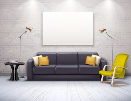 Mock up of realistic modern interior with furniture in black yellow color and ceiling lighting vector illustration Standard-Bild - 108938343