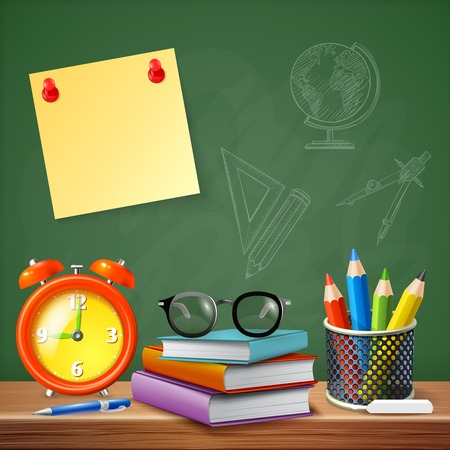 School supplies design concept with alarm clock stack of textbooks colored pencils reminder sticker realistic icons illustration