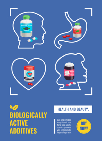 Biological active additives poster with human organs line icons and medical jars with pills and capsules vector illustration