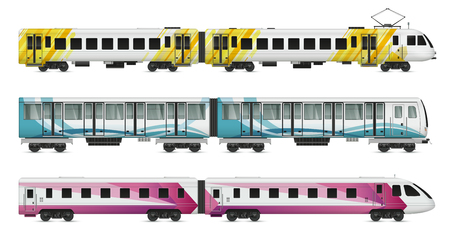 Passenger tram train realistic mockup set of suburban underground metropolitan and intercity trains on blank background vector illustration