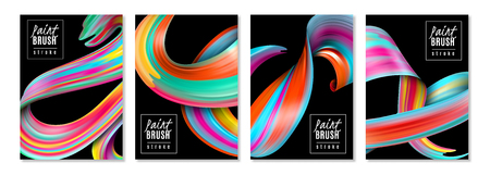 Vertical banners colorful brush strokes of oil or acrylic paints on black background isolated vector illustration