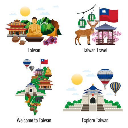Taiwan travel 4 flat compositions with culture sightseeing landmarks tourists attractions map flag temple isolated illustration