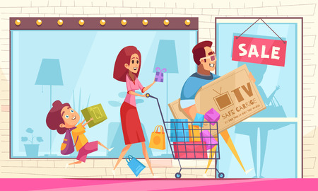 Shopaholic horizontal composition with storefront with sale sign and cartoon characters of family members with goods vector illustration 일러스트