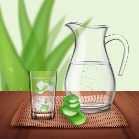 Aloe vera composition with bright water bottle and glass with pieces of natural plant and ice cubes  illustration