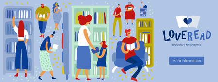 People looking and choosing literature in book store on blue background flat vector illustration