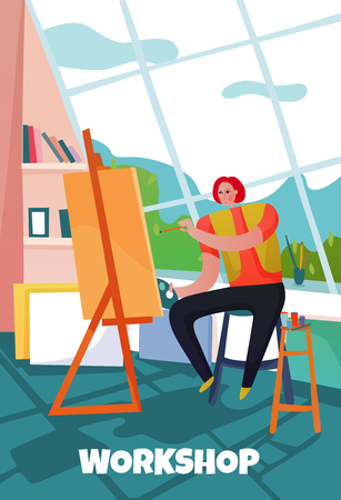 Creative worker painting in his workshop flat vector illustration