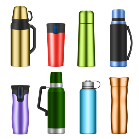Vacuum bottles flask insulating storage vessels for drinks food classic modern realistic colorful set isolated  illustration Illustration