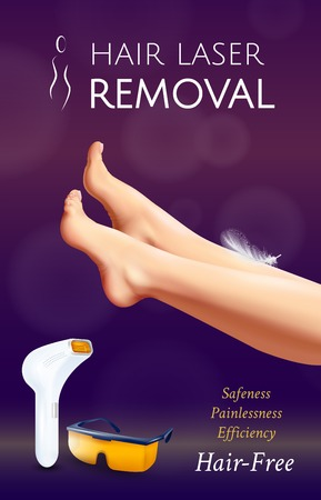 Realistic photoepilation vertical poster with laser assisted hair removal tools female legs and editable text vector illustration Illustration