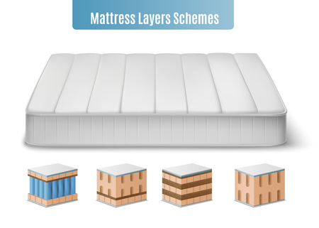 Mattress layers composition with realistic images of mattress and colourful cubic form pieces of bat stuffing vector illustration Illustration