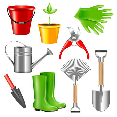 Realistic gardening tool set with isolated images of pieces of garden gear equipment on blank background illustration Vetores