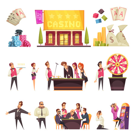 Casino set of isolated cartoon style human characters gambling house building cards and piles of chips vector illustration Illustration
