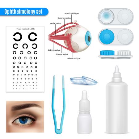 Ophtalmologie correction de la vision anatomie des yeux ensemble réaliste avec table d'examen et accessoires de lentilles de contact illustration isolé