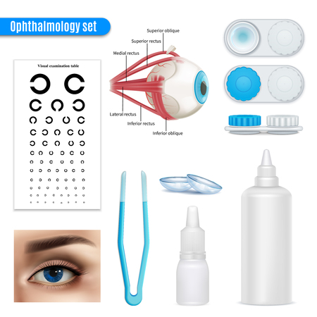 Ophthalmology vision correction eye anatomy realistic set with exam table and contact lenses accessories isolated illustration Illustration