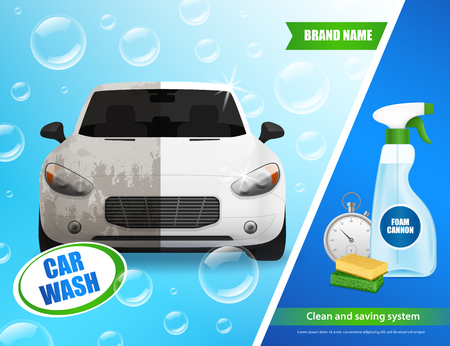 Car wash products realistic advertisement poster with auto in soap bubbles cleaning foam sponges clock  illustration Illustration