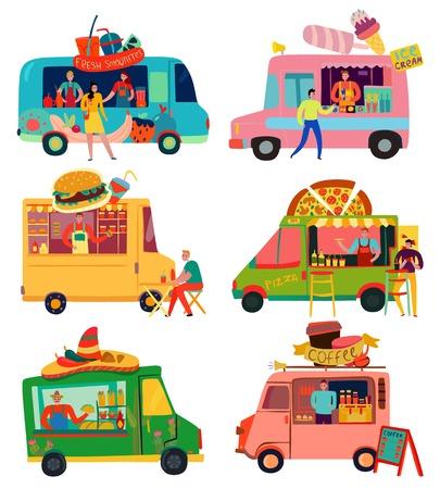 Voedselvrachtwagens die met roomijs en pizzasymbolen vlak geïsoleerde vectorillustratie worden geplaatst