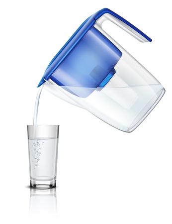 Versando l'acqua nel bicchiere fuori dalla brocca del filtro domestico attraverso l'illustrazione realistica del processo di purificazione della composizione della cartuccia di carbone Vettoriali