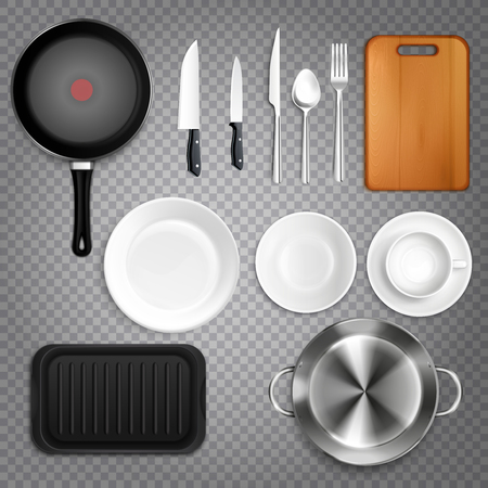 Kitchen utensils realistic set top view  with cutlery knives plates cutting board frying pan transparent  illustration