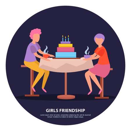 Grown up girlfriends birthday party night celebration orthogonal dark background friendship poster with colorful cake  illustration 向量圖像