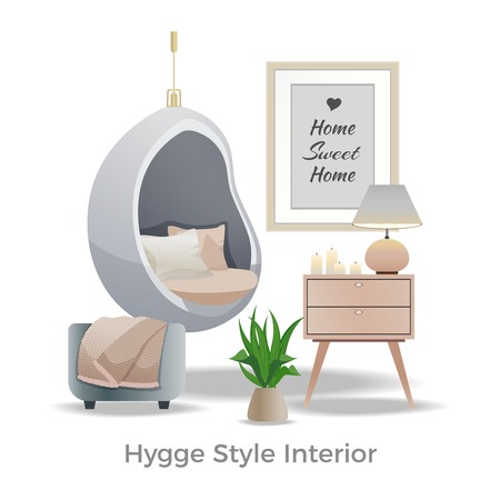 Hygge style interior design element with cozy reading nook plaid pillows candles lamp white background  illustration Çizim