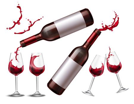Spruzzata di vino con immagini isolate realistiche di bicchieri e bottiglie con illustrazione di spruzzo di vino rosso