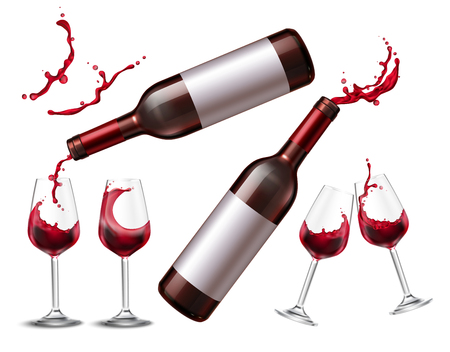 Wine splash set with realistic isolated images of drinking glasses and bottles with red wine spray  illustration