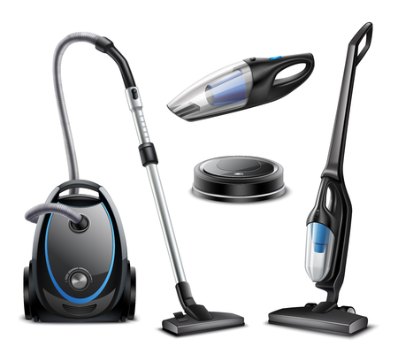 Set of realistic vacuum cleaners of various types isolated on white background vector illustration Ilustração