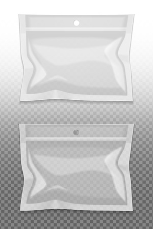 Realistic blank package set on transparent background isolated  illustration