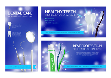 Dental banners set of healthy teeth dental care and best protection realistic compositions  illustration Illustration