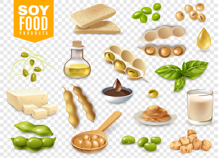 Set di fagioli con foglie di piante e prodotti alimentari di soia isolati su sfondo trasparente illustrazione vettoriale Vettoriali