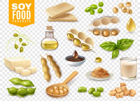 Set van bonen met bladeren van de plant en soja voedingsproducten geïsoleerd op transparante achtergrond vectorillustratie Vector Illustratie