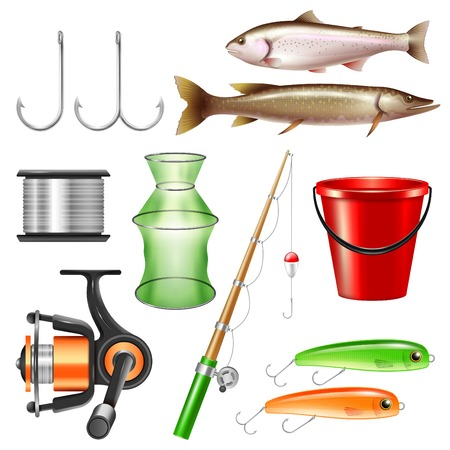 Realistic fishing set with isolated images of fish tackle and pieces of equipment on blank background vector illustration