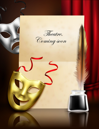 Theater season announcement advertisement stylish realistic composition with comedy tragedy masks paper ink feather pen  illustration Ilustracja