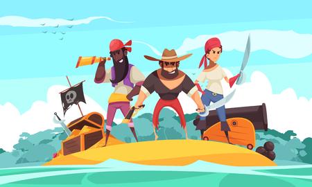 Fond horizontal de pirate avec vue sur l'île et images de dessins animés de bijoux et de trésors avec illustration de personnes